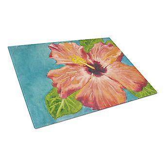 Koraal Hibiscus door Malenda truc glazen snijplank groot
