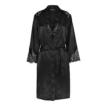 Slenderella GL8731 Women's Black Satin Long Gown Chemise Set