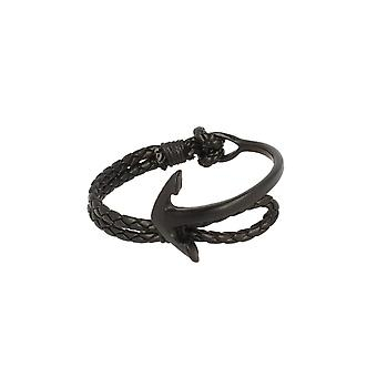 Baxter jewelry London jewellery half Bangle - half strap anchor black leather strap black Maritim 19 cm