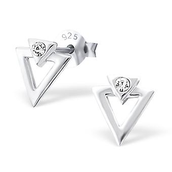 Triangle - 925 Sterling Silver Crystal Ear Studs
