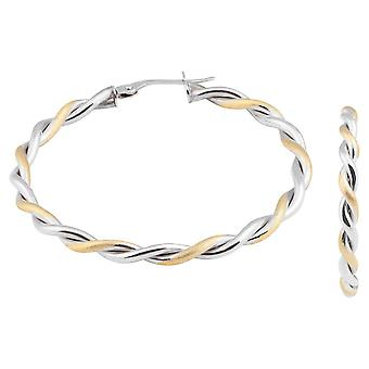 Fine 9ct Solid Gold 375 Ladies Big Hoop Twisted White Gold Earrings Special Gift Italy Made