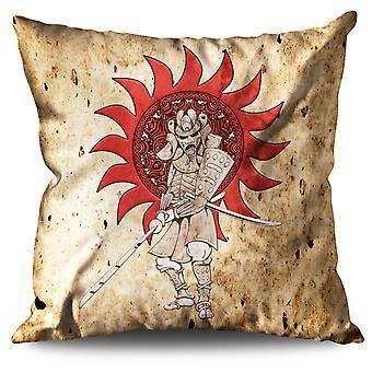 Samurai del Giappone Sun fantasia cuscino in lino Samurai Giappone Sun fantasia | Wellcoda