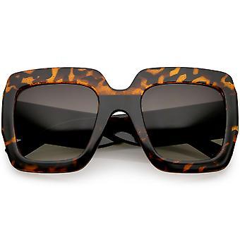 Oversize Glitter zwei getönten quadratische Sonnenbrille breite Arme Neutral farbige Linse 53mm