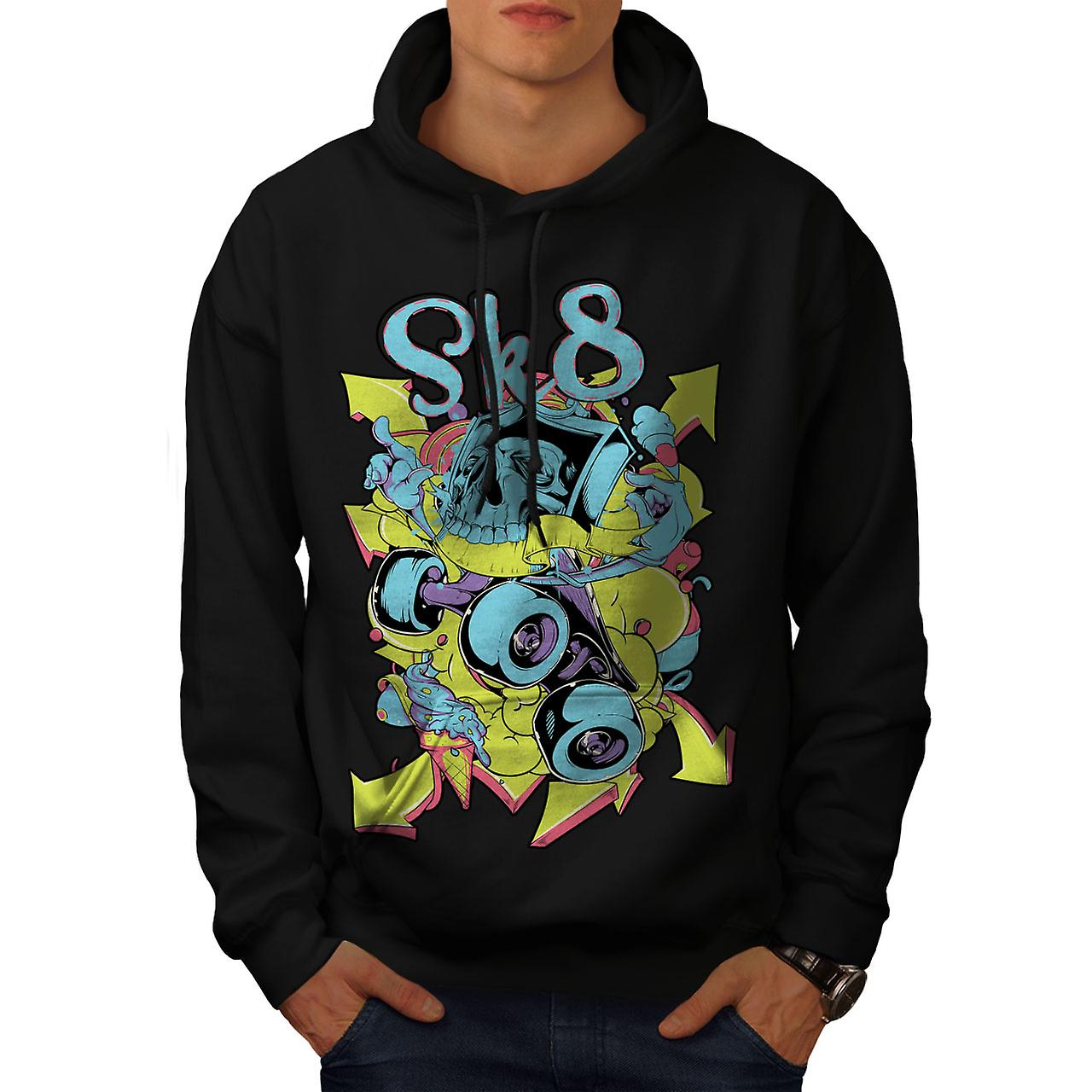 Skate Street Urban Skull Men Black Hoodie | Wellcoda