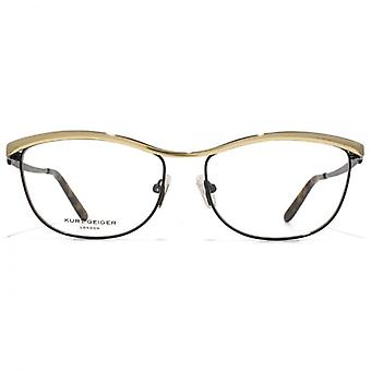 Kurt Geiger Isla Oval Metal Bar Glasses In Black With Gold Brown Bar