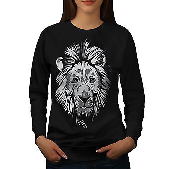 Lion udyret rolige dyr kvinder BlackSweatshirt | Wellcoda