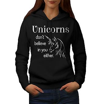 Unicorn Believe Women BlackHoodie | Wellcoda