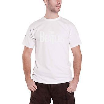 The Beatles T Shirt Vintage Drop T Logo Hi-Build Design Official Mens New White