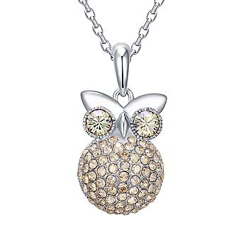 OWL in Swarovski Elements Champagne Crystal pendant and Rhodium plate