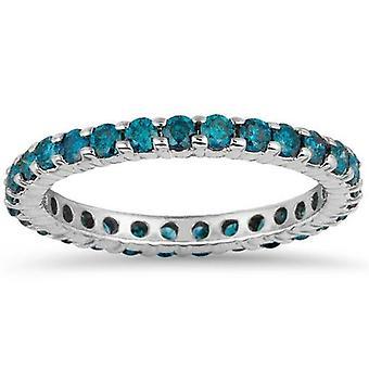 1ct Blue Diamond Eternity Ring 14K witgoud