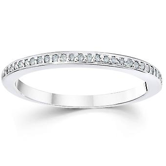 1/10ct Pave Diamond Wedding Ring 14K White Gold