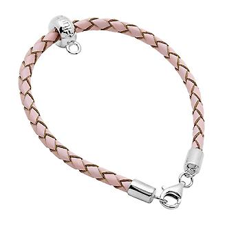 Burgmeister leather bracelet rosa plaited, JHE1066-529, 925 sterling silver rhodanized