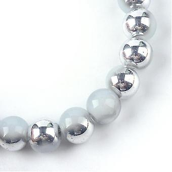 Strand 95+ Pale Grey/Silver Imitation Jade 8mm Plain Round Beads Y07875