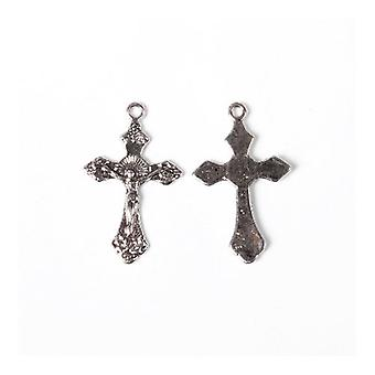 Packet 12 x Antique Silver Tibetan 34mm Crucifix Charm/Pendant ZX13925