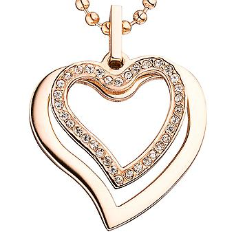 Heart pendant heart stainless steel rose gold color coated cubic zirconia heart pendant