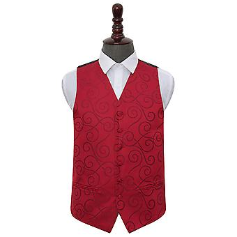 Burgundy Scroll Wedding Waistcoat