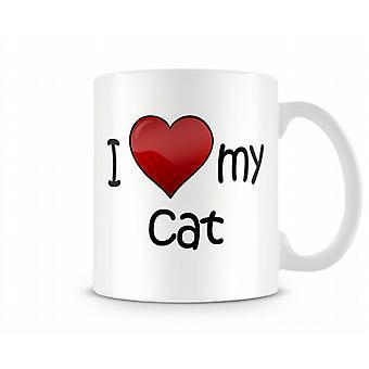 Me encanta mi gato la taza impresa