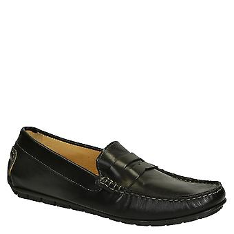 Black calf leather men's italian driving moccasins