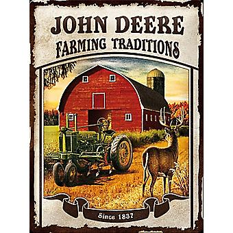 John Deere Farming Traditions Large Embossed Steel Sign (300Mm X 400Mm)