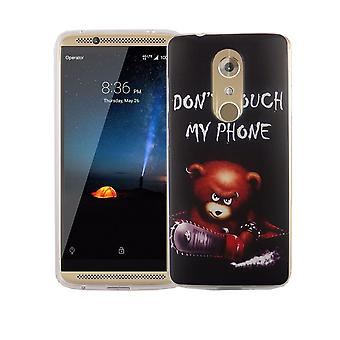 Cell phone case for ZTE Axon 7 mini cover case protective bag motif slim silicone TPU lettering bear with chainsaw