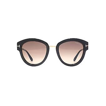Tom Ford Mia 02 Sunglasses In Shiny Black Bordeaux