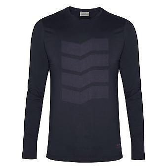 CC Collection Corneliani Corneliani Navy Zig-Zag Long Sleeve T-Shirt