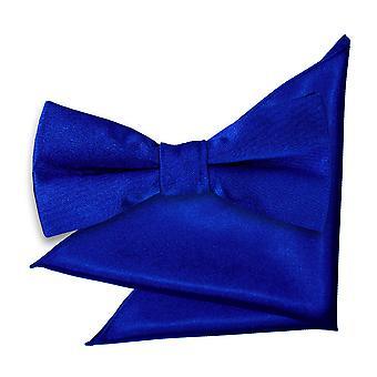 Royal Blue platte satijnen strikje & zak plein voor jongens instellen
