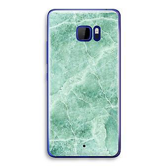 HTC U Ultra Transparent Case (Soft) - Green marble