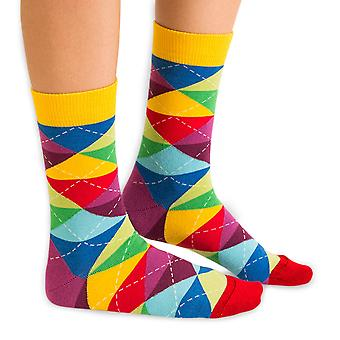 Cheer argyle luxury combed cotton crew socks by Ballonet