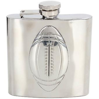 David Van Hagen 6oz Rugby acier inoxydable Hip Flask - Silver