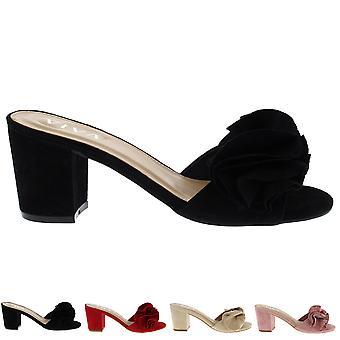 Women Low Mid Heel Suede Flower Ruffle Slip On Mule Fashion Sandals Shoes UK 3-8
