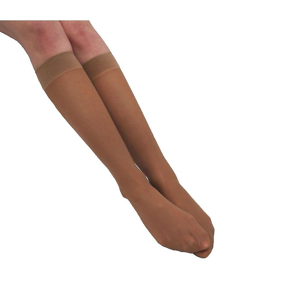 Pebble UK Sheer Mild Support Knee Highs [Style P76] Natural  XL