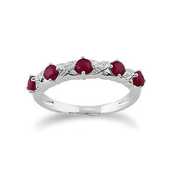 Gemondo 9ct hvitt gull 0.55ct Ruby & Diamond halv evigheten Ring