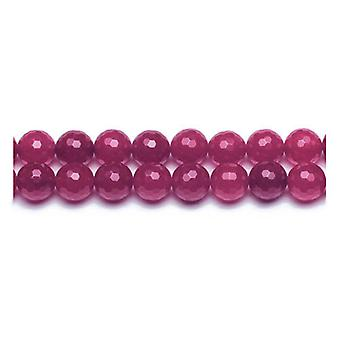 Packet 10 x Fuchsia Malaysian Jade 6mm Faceted Round Beads VP2600