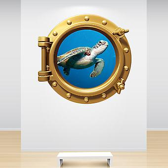 Full Colour Sea Turtle Brass Gold Porthole Wall Sticker