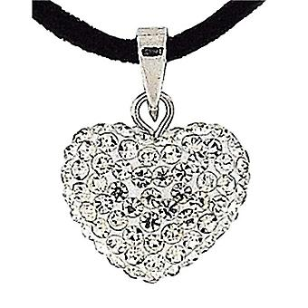 Rhinestone Set Heart Pendant on 18