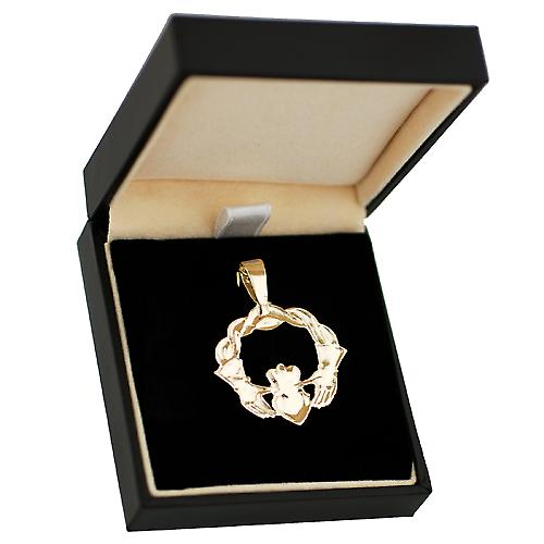 9ct Gold 27x30mm twisted cord top Claddagh Pendant