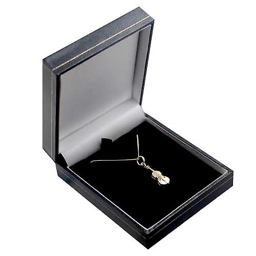 9ct Gold 21x7mm Violin Pendant with a curb Chain 16 inches Only Suitable for Children