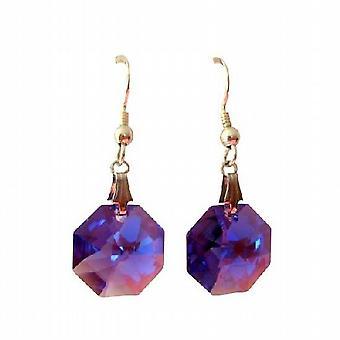 Tanzanite Octagon Swarovski Crystal & Sterling Silver Earrings