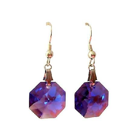 Tanzanite Octagon Swarovski Crystal & Sterling Silver Earrings