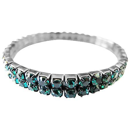 Green Cubic Zircon Stretchable Bracelet Embedded Round Double Strings