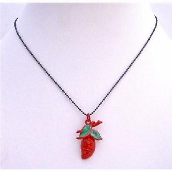 Красная клубника кулон ожерелье встроенных Кубический циркон & зеленые листья