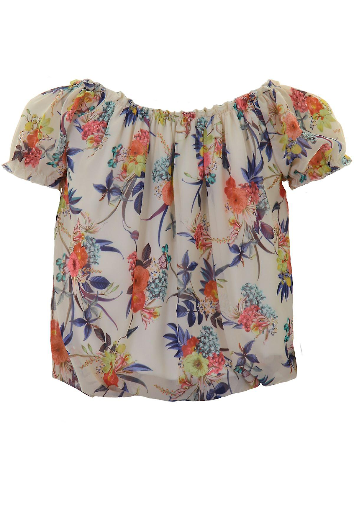 Ladies Short Sleeve Chiffon Lined Floral Elasticated Hem Trim Smart Blouse Top