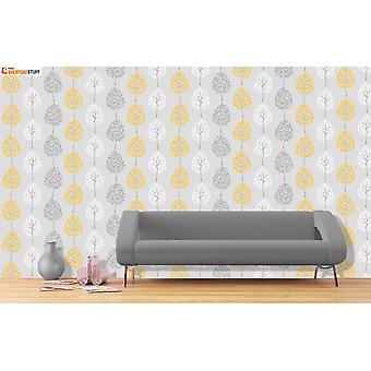 Treet løvverk Leaf Wallpaper metallisk skimmer gul grå hvit fin dekor Riva