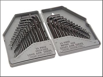 Faithfull Hexagon Key Set of 30 Metric / Imperial (0.7-10mm 1/16-3/8in)