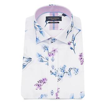 Guide London White Floral Print Men's Short Sleeve Shirt