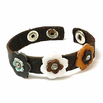 The Olivia Collection Brown Genuine Leather Wristband with Decorated Flowers