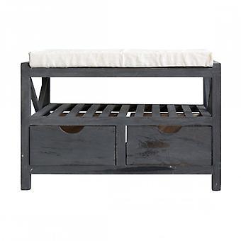 Rebecca Bench Furniture Bench Rack 2 drawers grey Vintage retro entrance bathroom room