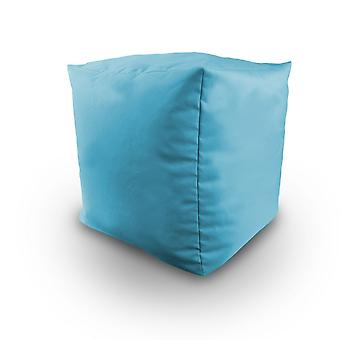Turquoise Water Resistant Bean Filled Cube Pouffe Footstool