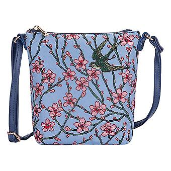 Almond blossom and swallow shoulder sling bag by signare tapestry / sling-blos